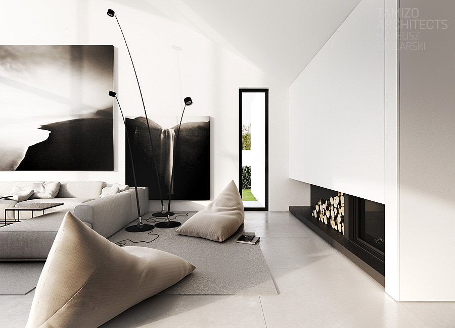 Crno bijeli moderni dnevni boravak podne lampe nekretnine bl