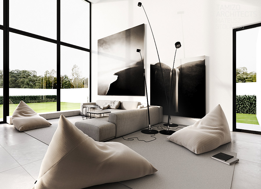 crno-bijeli-moderni-dnevni-boravak-velika-slika-na-zidu