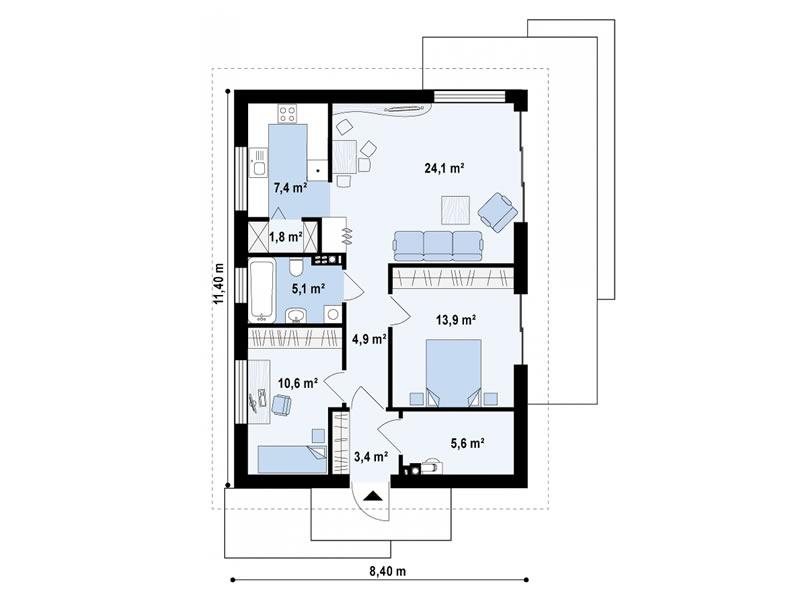 Štedljiva kuća Basic 77m  Uredite Dom